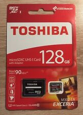 128GB Toshiba Micro SD SDXC Exceria M302 90MB/sec Class 10 Card + SD Adap New