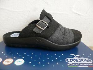 Fly Flot Men's Slippers House Shoes Felt Fabric Black/Grey New