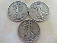 1936 P & D & S  Silver Walking Liberty Half Dollar  three coin set