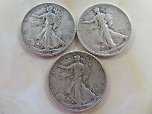 1936 P & D & S  Silver Walking Liberty Half Dollar  three coin set