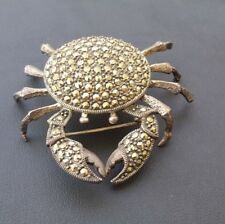 Vintage Marcasite Crab Brooch Cancer Zodiac Pin
