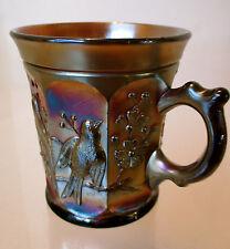 VINTAGE 1905-1915 ANTIQUE CARNIVAL GLASS NORTHWOOD SINGING BIRDS AMETHYST MUG