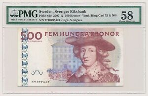 SWEDEN banknote 500 Kronor 2007 PMG AU 58 Choice About Uncirculated grade