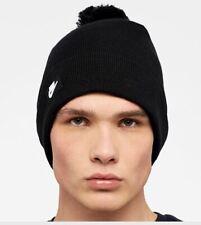 Nike Logo Removable Pom Pom Beanie Hat, Black O/S, Unisex