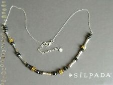 """NEW Silpada sterling brass stone NECKLACE charm N3350 On the Horizon 18 - 20"""""""