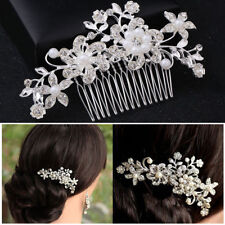 Flower Wedding Bridal Hair Pins Comb Accessories Crystal Pearls Hair Slide Clips