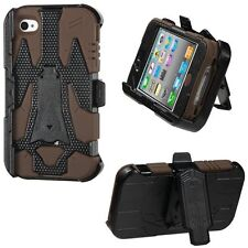 For iPHONE 4 4G 4S - Black / Brown Hybrid Hard Holster Case Cover + Belt Clip