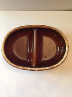 HP & Co Pottery Divided Dish Vegetable Bowl Brown Drip Glaze USA Ovenproof