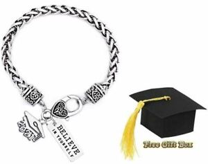 Graduation Class of 2021 Silver Charm Bracelet Believe in Yourself + Gift Box