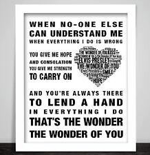 Elvis Presley The Wonder Of You Music Song Lyrics Art Print Valentine Heart Gift