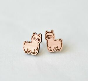 Wood Alpaca Llama earrings handmade stud earrings gift girls womens girls