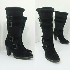 Clarks Black Leather Boots Ladies Suede Heels Knee High Buckle Punk Pirate  5 38