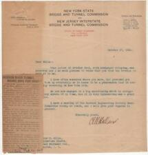 1920 - Holland Tunnel Letter signed by Clifford M. Holland, its Chief Engineer