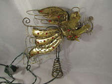 Metal Angel Tree Topper Lights Harp