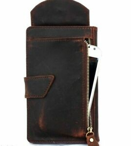 Genuine Leather Case for iPhone XR Book Wallet Cover Cards Slots Vintage Brown