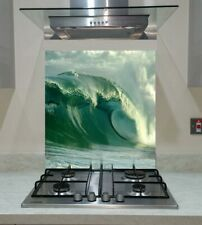Splashback Toughened Glass Modern Unique Kitchen Sea Waves Any Sizes