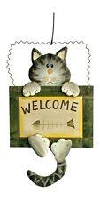 """Gatto  in legno con cartello """"welcome"""" (""""benvenuto""""), cm 30x18"""