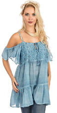 SACRED THREADS blue acid wash embroidered cold shoulder ruffle TOP TUNIC L XL
