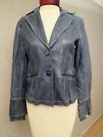 ELIE TAHARI Designer lamb leather jacket coat sea water color sz S 6 mint Neiman