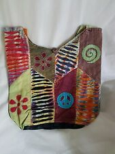 Hippie Boho Slouch Bag Sling cross body 100% cotton Peace Patchwork NEPAL made