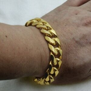 Cool Top Quality Gold Plated Mens Stainless Steel Curb  Bracelet