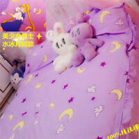 New Anime Purple Sailor Moon Bedding Set Home Decor Cotton Duvet Cover Sheet