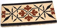 """Minton 4""""x 8""""  Glazed Encaustic Tile Buff, Black & Red, Pugin Design fr. 1800's"""