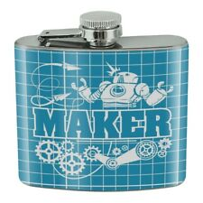 New listing Maker Blueprint Design with Robot and Gears Stainless Steel 5oz Hip Drink Flask