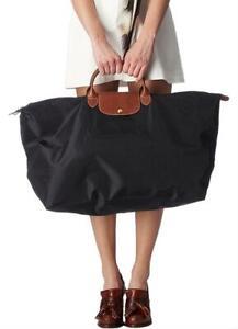 Longchamp Duffle XL Le Pliage Nylon Leather Black Brown Weekend/Travel Bag