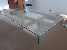 Rectangular Glass Table with two glass bases