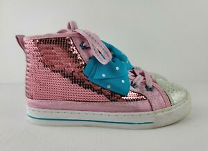 Jojo Siwa Pink Sequins Blue Polka Dot Bow Shoes Size 2 High Top Sneakers