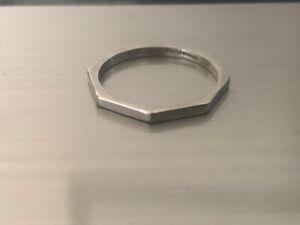 Vintage Platinum Octagonal Plain Wedding Band Ring 2.54g UK Size N