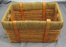 Decorative Woven Grass + Bamboo Basket w/ grass rope rim