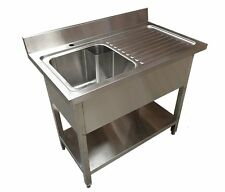 1M Commercial Kitchen Catering Stainless Steel Single Bowl Sink Right Hand Drain