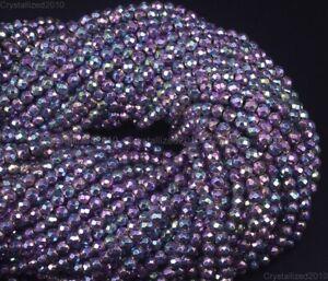 """Angel Aura Hematite Gemstone Faceted Round Beads 2mm 4mm 6mm 8mm 10mm 12mm 15.5"""""""
