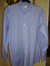 Men's Brooks Brothers Non Iron Polo Light Blue Checked Print Shirt  sz 16 - 4/5