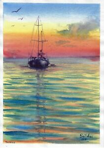 original painting A4 77PO art samovar Watercolor sketch seascape boats sunset