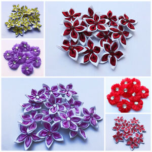 5-20 Satin Ribbon Flowers Bow Sewing decorations Craft 50mm Gift Craft Card