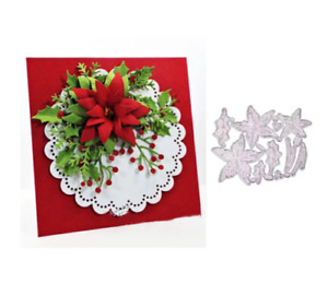 Christmas Flower Leave Metal Cutting Dies Stencil Scrapbooking Album Card Crafts