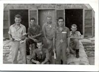 1943 WW2 Soldiers in Italy Holding Antique Bug Sprayer Snapshot Vintage Photo