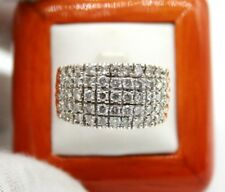 14K Yellow Gold Ladies 5 Row Diamonds Right Hand Ring.Wide Ring.Size 10.5