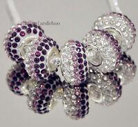 5p Gorgeous Czech Crystals Round Bead fit 925s European Charm Bracelet Chain k93