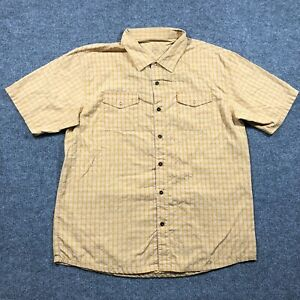 Zoic Men's XL Button Up Snap Pockets Cycling Shirt Yellow Check Short Sleeve