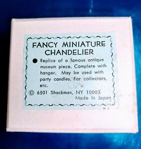 Vintage Dollhouse Miniature 1:12 Shackman Fancy Miniature Chandelier NOS