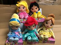 "OFFICIAL DISNEY PRINCESS SOFT TOY PLUSH 10"" 25CM DOLLS ARIEL BELLE AURORA SNOW"