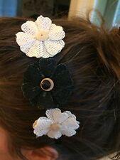 Handmade Black and White Burlap Flower Bead Satin Plastic Headband Girl Hair