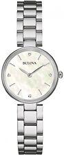 BULOVA Signore delle donne Designer Diamond Watch Bracciale-ACCIAIO INOX BIANCO
