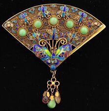 Antique Chinese Silver Enamel Jade Filigree Fan Brooch Pin