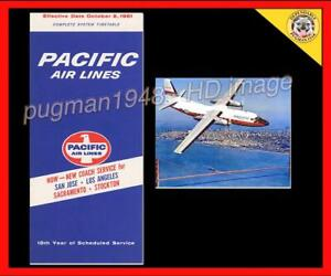 AIRLINE TIMETABLE PACIFIC AIRLINES 1961 SCHEDULE...Plus Pacific F-27 photo