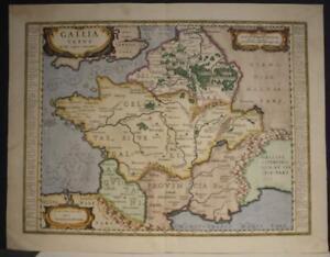 ANCIENT FRANCE GALLIA UNDER JULIUS CÆSAR 1636 JAN JANSSON UNUSUAL ANTIQUE MAP
